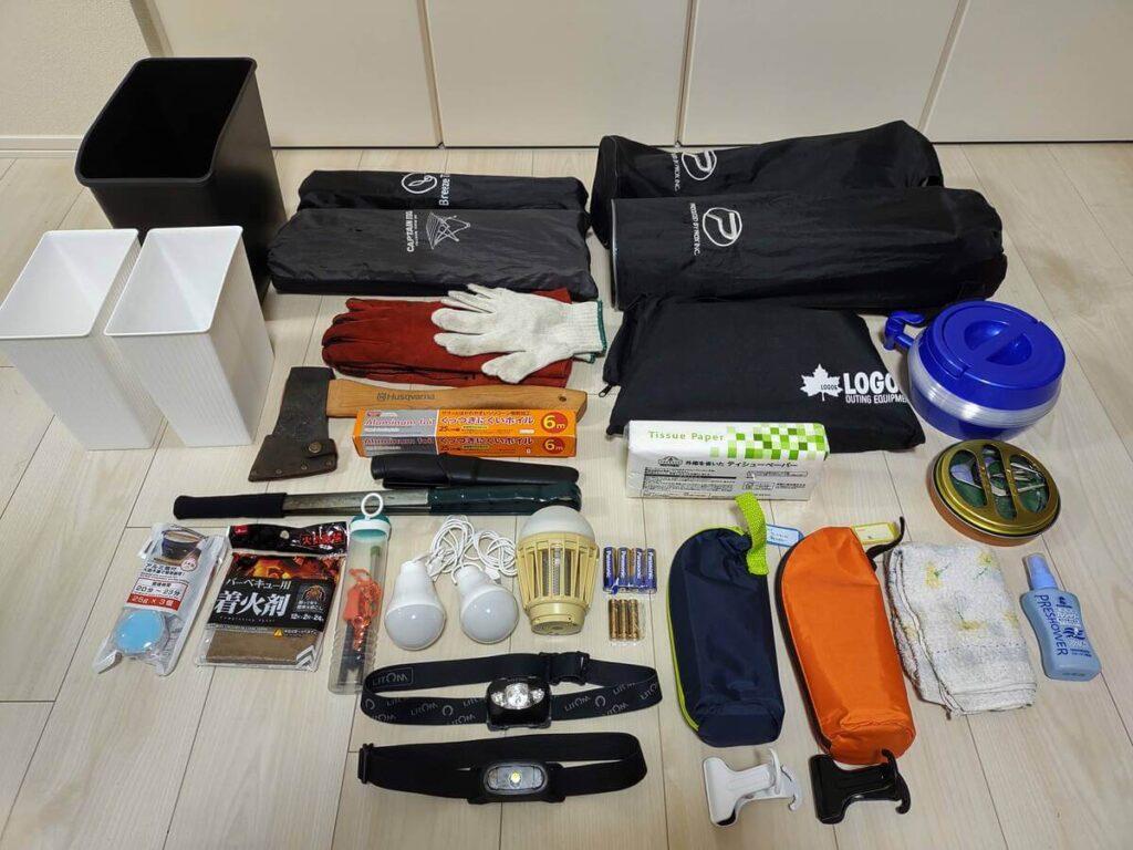収納されていたキャンプ道具の一覧
