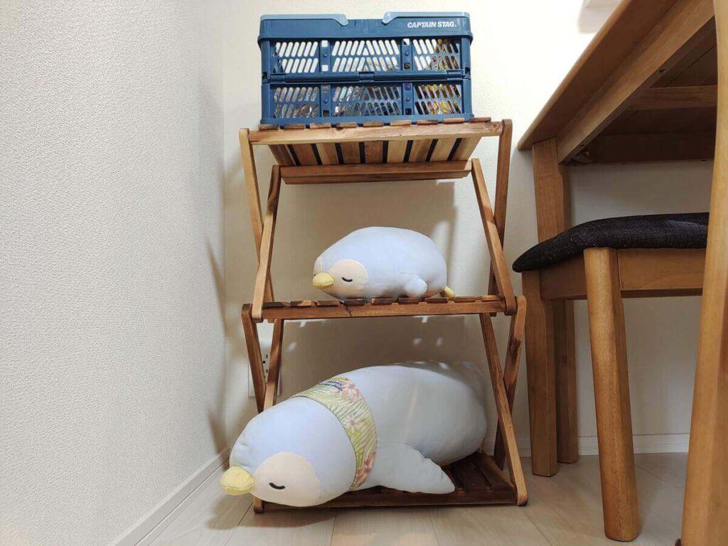 家のインテリアとして使った折りたたみカゴと棚